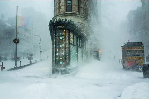 Flatiron Building in a Snowstorm by Michelle Palazzo